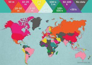 mappa che mostra i paesi piu' visitati dai turisti